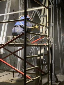 Piaskowanie konstrukcji stalowej estakady